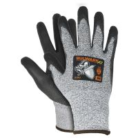 Safety Gloves, Bulwark A3, ANSI Cut Level 3, Gray, with Black PU Coating Palm