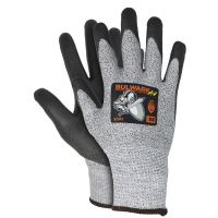 Safety Gloves, Bulwark A4, ANSI Cut Level 4, Gray, with Black PU Coating Palm