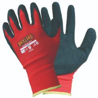 RX13 Red nylon safety work glove with black crinkle grip coating, 12 per pack